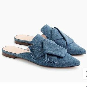 NWB! J. Crew stylish denim slip on comfy mules